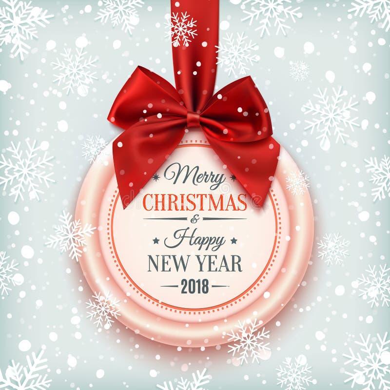 Emblem för glad jul och för lyckligt nytt år 2018 stock illustrationer