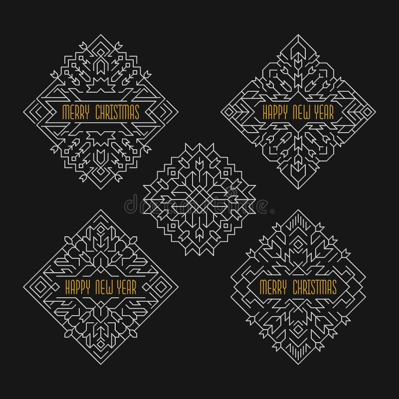 Emblem för glad jul och för lyckligt nytt år Ramar i linjen stil Semestrar baner stock illustrationer