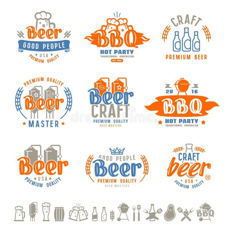 Emblem för grillfest- och hantverkölbryggeri vektor illustrationer