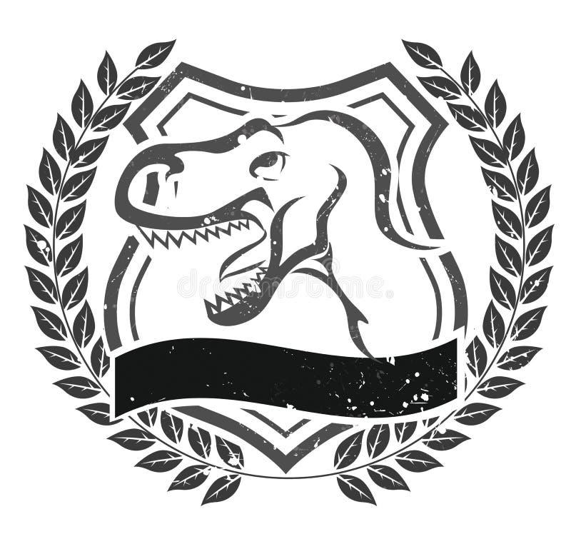Emblem för Grungevelociraptorhuvud stock illustrationer