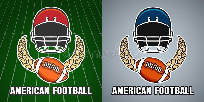 Emblem för högskola för liga för amerikansk fotboll royaltyfri illustrationer
