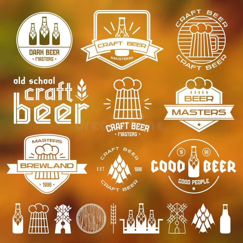 Emblem för hantverkölbryggeri vektor illustrationer