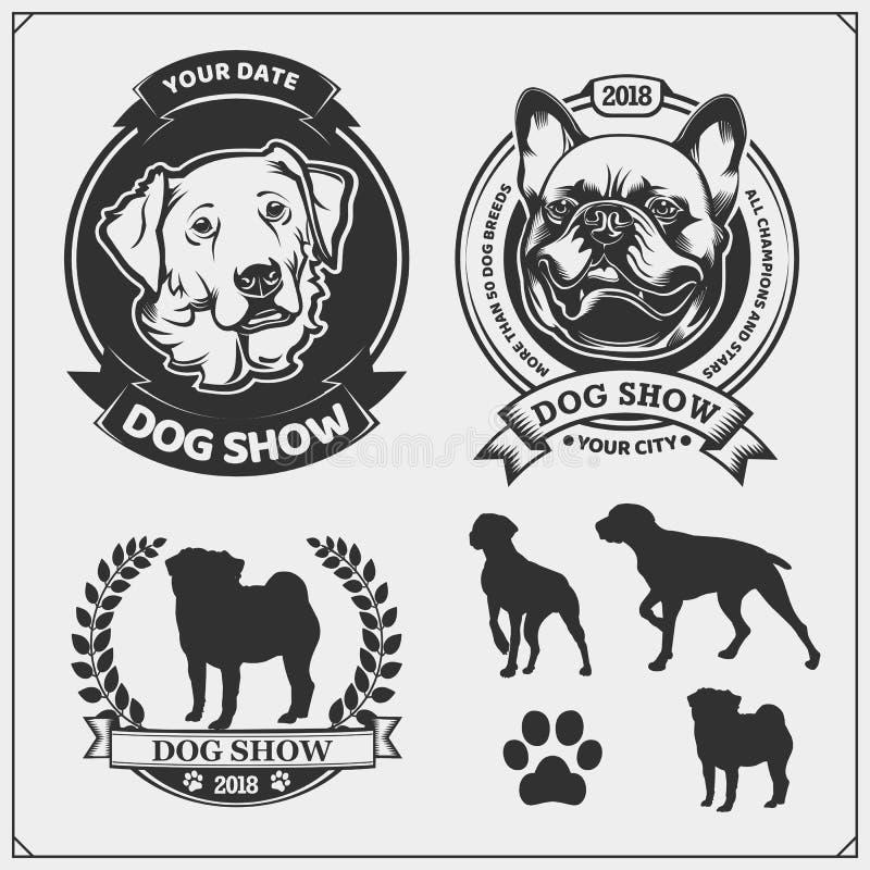 Emblem för hundshow, etiketter, emblem och designbeståndsdelar Gulliga vänliga husdjurtecken Fransk bulldogg och golden retriever vektor illustrationer