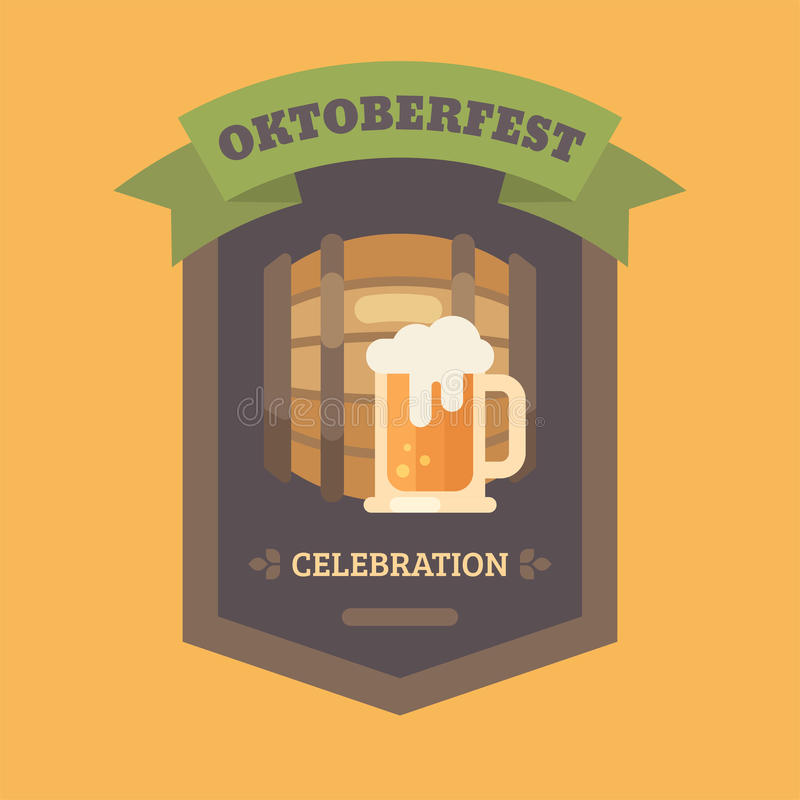 Emblem för illustration för lägenhet för Oktoberfest ölfestival stock illustrationer