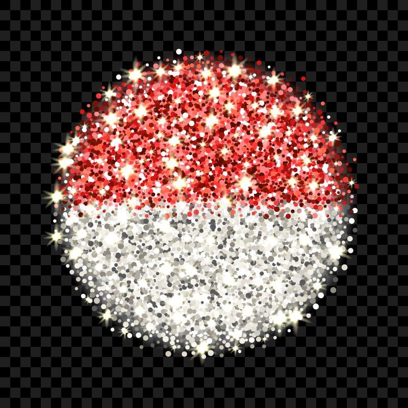 Emblem för Indonesien och Monaco flaggabrusande stock illustrationer