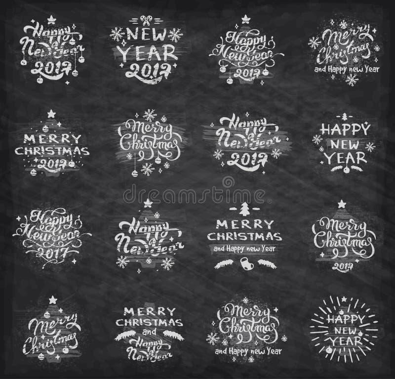Emblem för jul och för nytt år arkivfoto