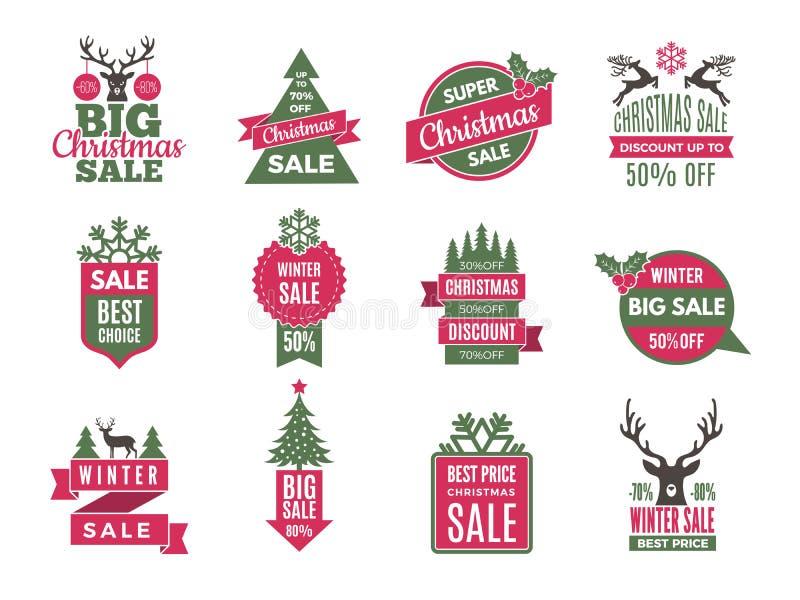 Emblem för julförsäljningsetiketter Semestrar bästa erbjudandeetiketter med den stora samlingen för rabattvektormallen vektor illustrationer