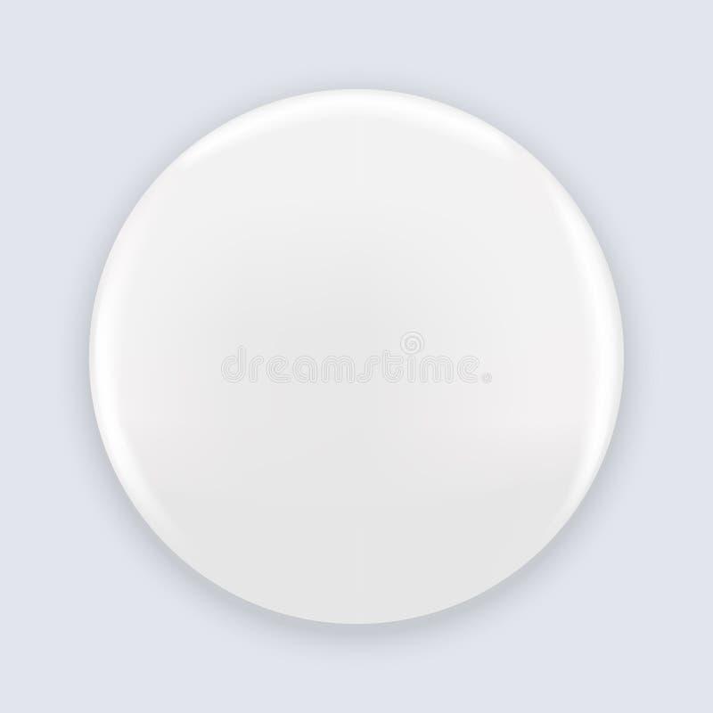 Emblem för knapp för vitmellanrumsstift som isoleras på bakgrund Realistisk vektorillustrationmodell stock illustrationer