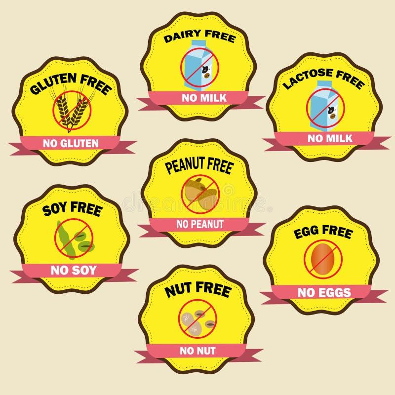 Emblem för matallergi stock illustrationer
