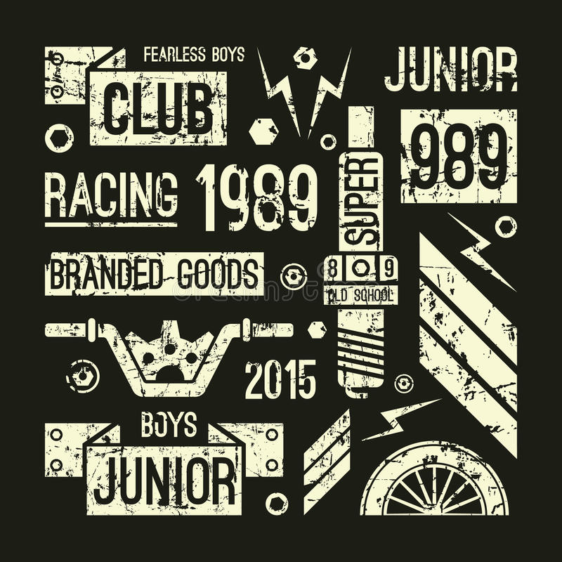 Emblem för motorcykelloppklubba i retro stil royaltyfri illustrationer