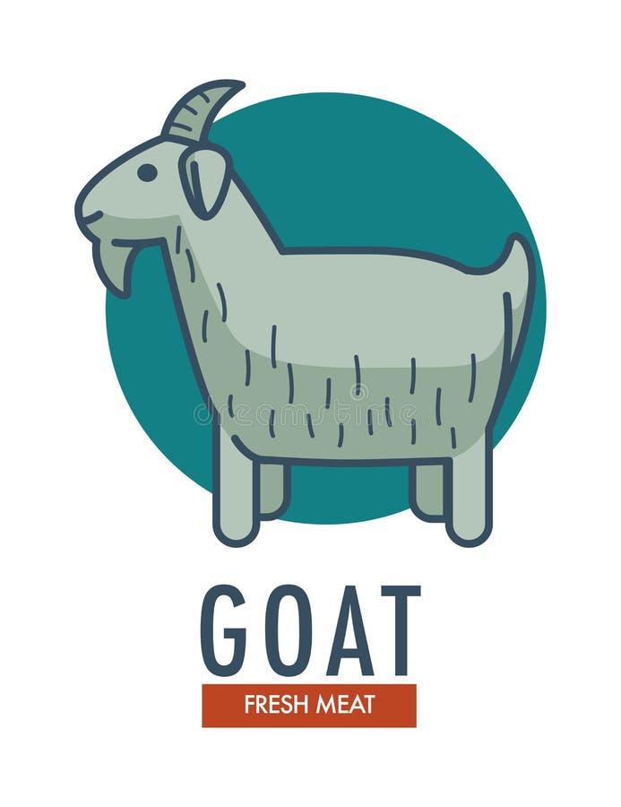 Emblem för nytt kött för get befordrings- med tamdjuret stock illustrationer