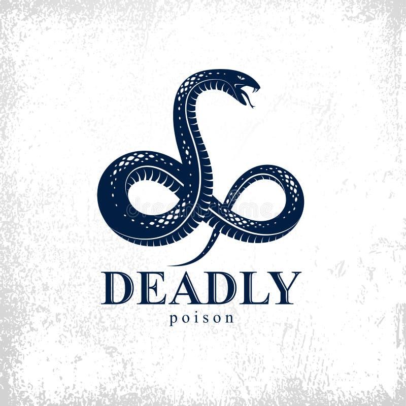 Emblem för ormvektorlogo eller tatuering, farlig orm för dödligt gift, stil för tappning för aggressiv rovdjurs- reptil för gift  royaltyfri illustrationer