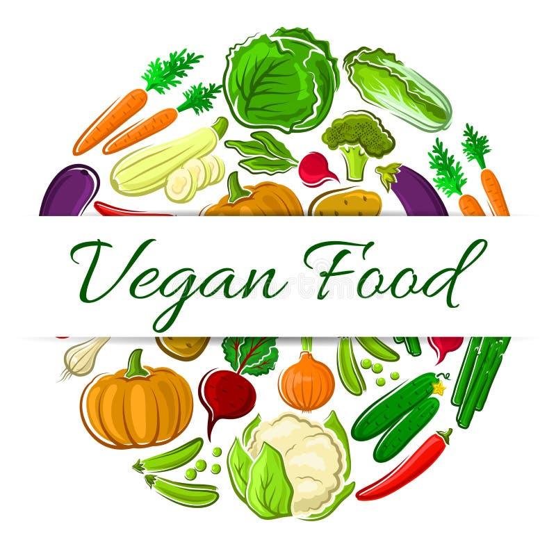 Emblem för runda för strikt vegetarianmatgarnering vektor illustrationer