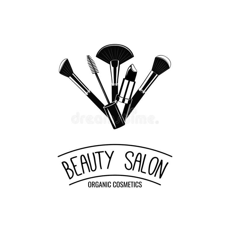 Emblem för skönhetsalong Makeup borstar Logo Vector stock illustrationer