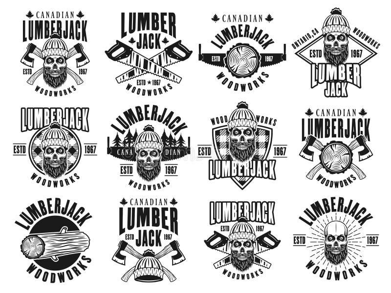Emblem för skogsarbetare- och träverkvektortappning vektor illustrationer