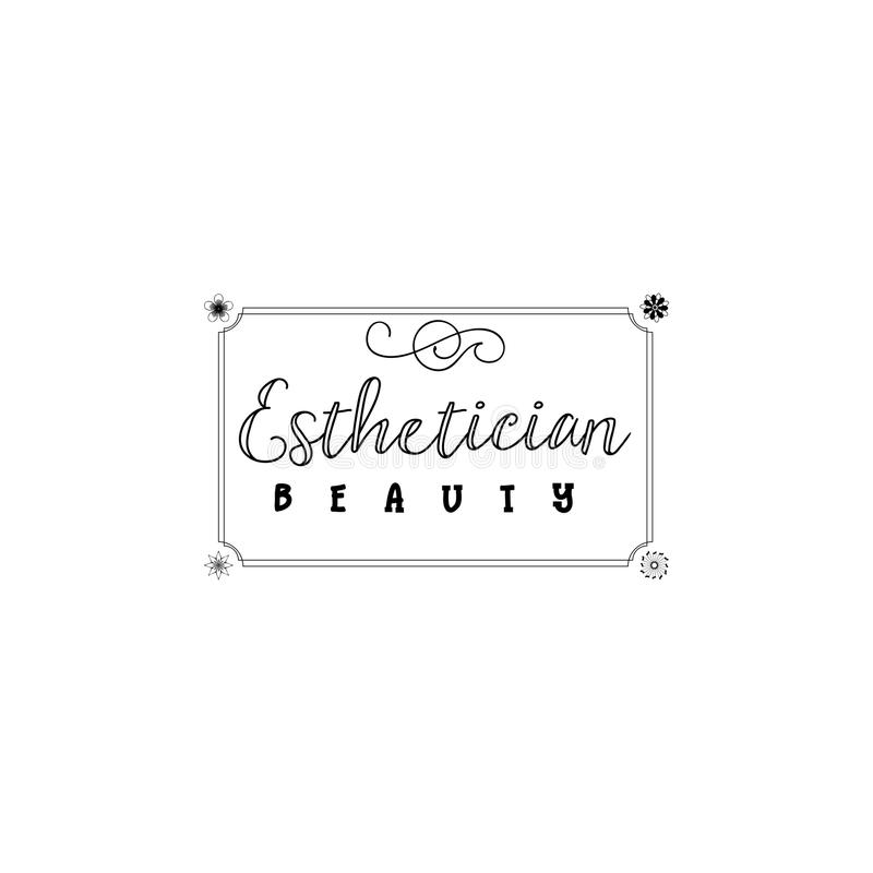 Emblem för små och medelstora företag - Esthetician för skönhetsalong Klistermärke stämpel, logo - för designen, gjorda händer Me royaltyfri illustrationer