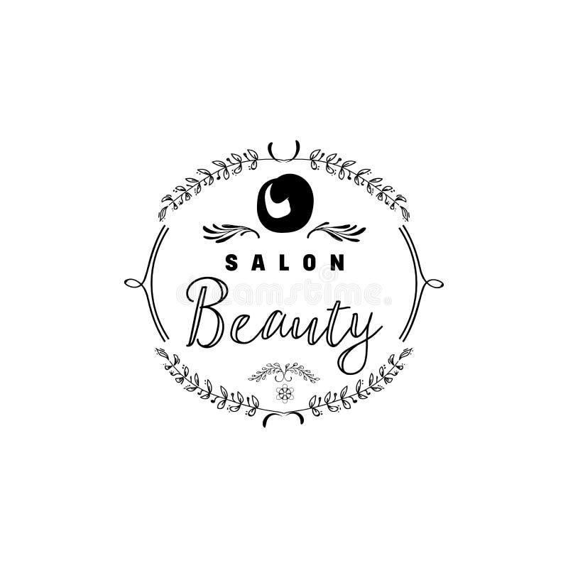 Emblem för små och medelstora företag - skönhetsalong Klistermärke stämpel, logo - för designen, gjorda händer Med bruket av blom stock illustrationer