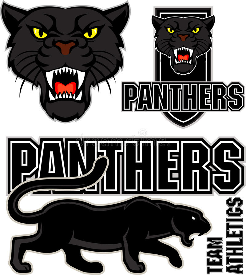 Emblem för sport för svart panter för vektor ilsket vektor illustrationer