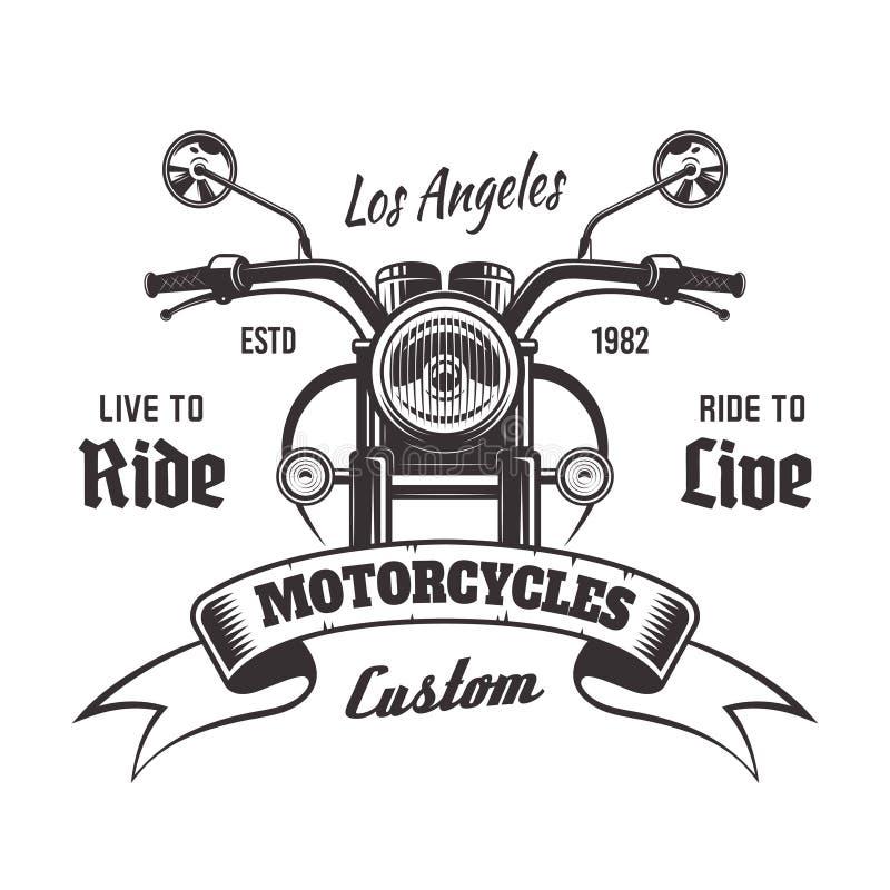 Emblem för tappning för vektor för främre sikt för motorcykel royaltyfri illustrationer