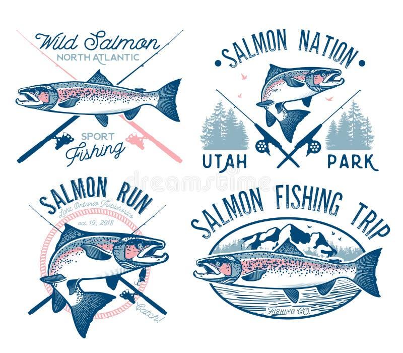 Emblem för tappninglaxfiske royaltyfri illustrationer