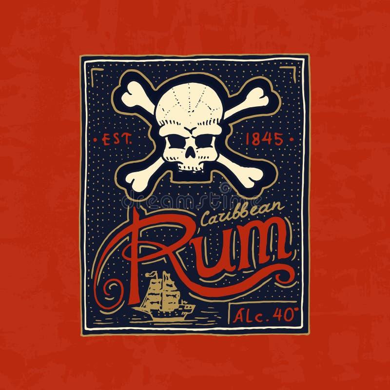 Emblem för tappningrometikett Stark alkohollogo med den calligraphic beståndsdelen Ram för affischbaner Emblemklistermärkehand stock illustrationer