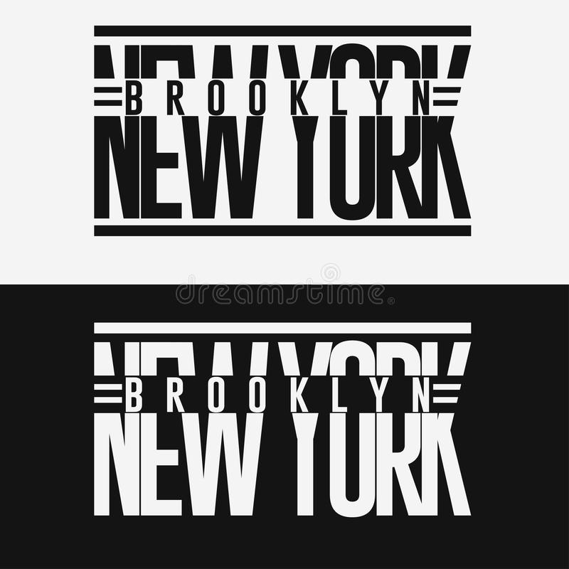 Emblem för typografi för Brooklyn sportkläder, t-skjorta stämpeldiagram vektor illustrationer