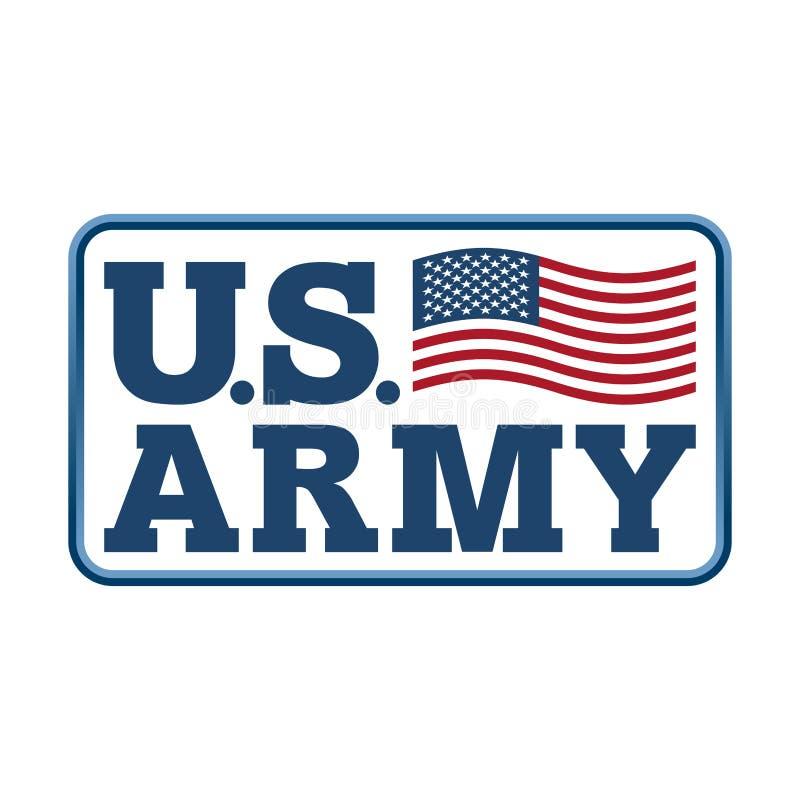 Emblem för USA-armé Amerika flagga Krigsmakt av Förenta staterna s stock illustrationer