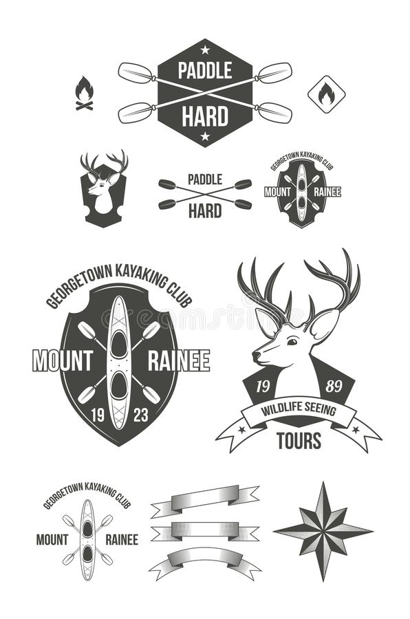 Emblem för utomhus- aktiviteter royaltyfri illustrationer