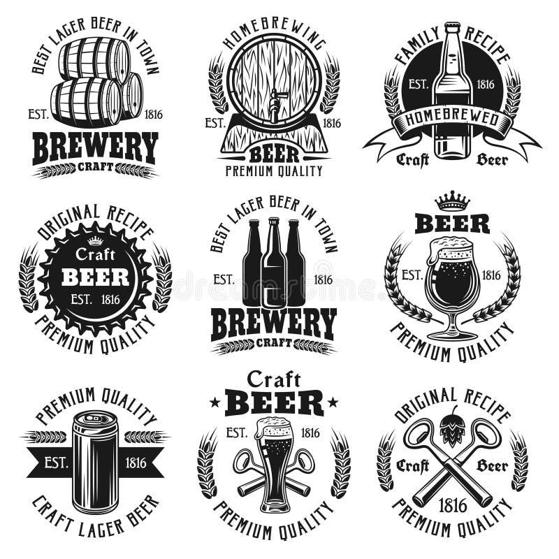 Emblem för vektor för öl nio svarta, emblem, etiketter vektor illustrationer
