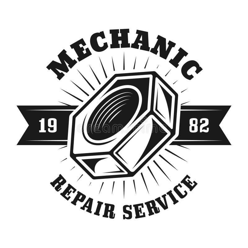 Emblem för vektor för service för automatisk reparation med skruvmuttern stock illustrationer