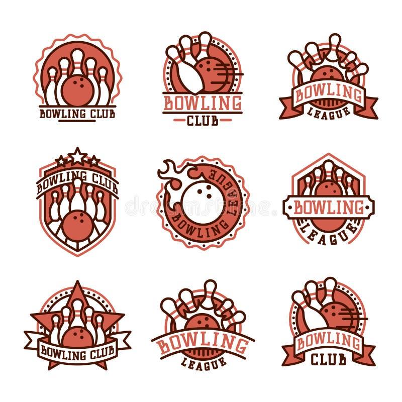 Emblem för vektorbowlinglogo stock illustrationer
