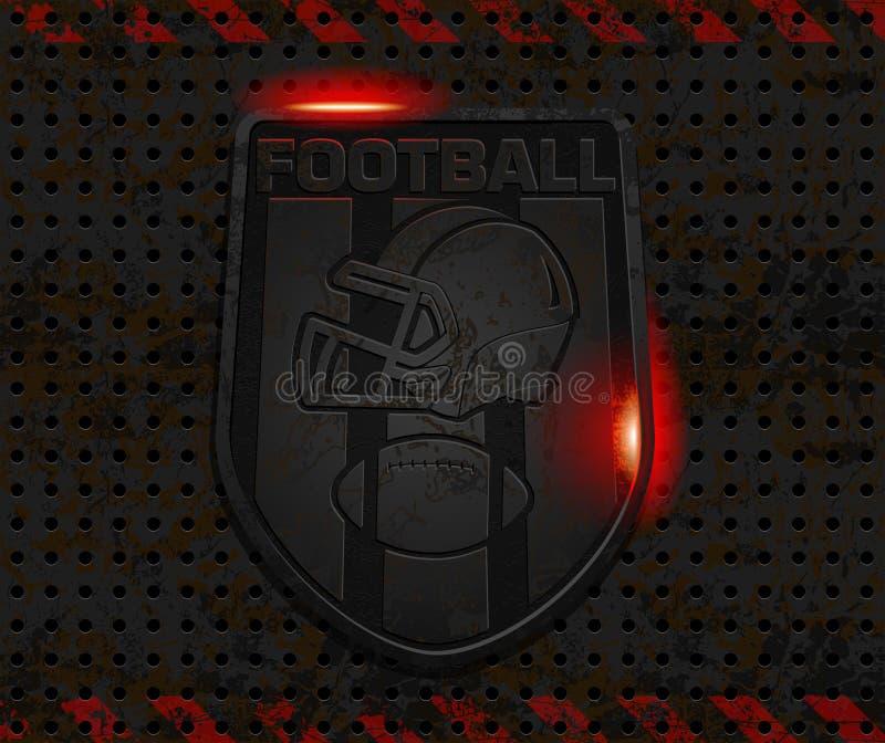 Emblem för vektorjärnfotboll stock illustrationer