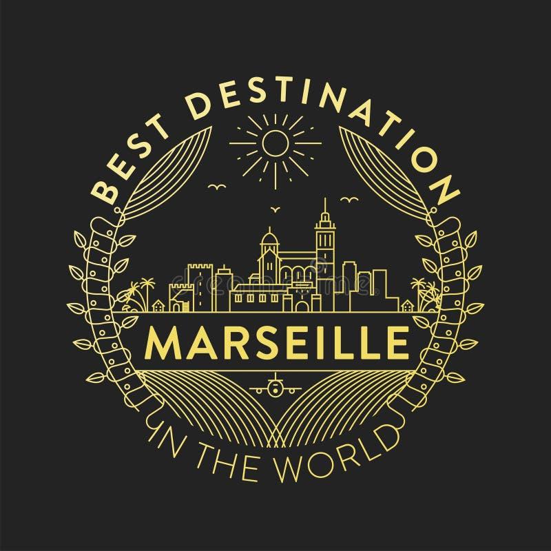 Emblem för vektorMarseille stad, linjär stil royaltyfri illustrationer