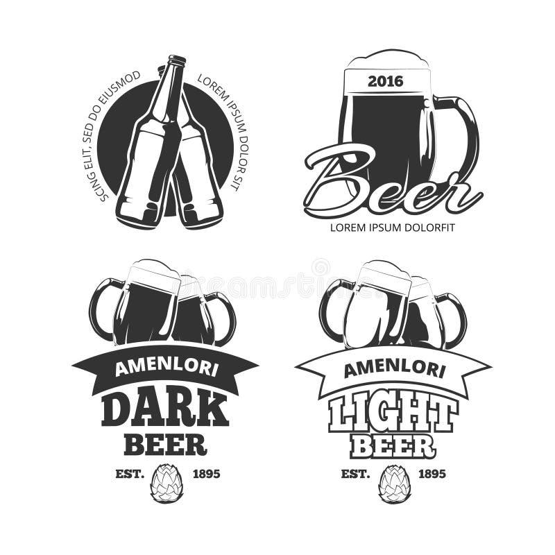 Emblem för vektorn för bryggeriet för tappninghantverköl, etiketter, emblem ställde in vektor illustrationer