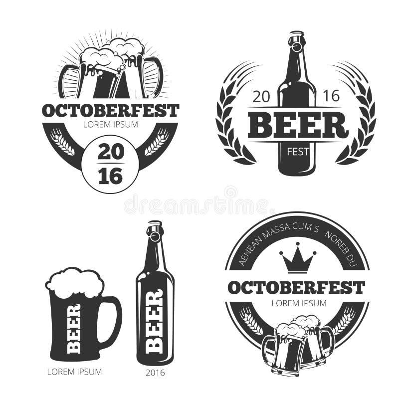 Emblem för vektorn för tappningölbryggeriet, etiketter, emblem, logoer ställde in vektor illustrationer