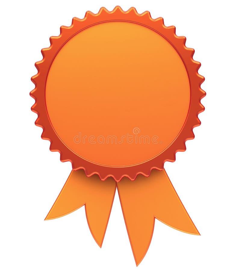 Emblem för vinnare för rosett för medalj för utmärkelsebandmellanrum guld- stock illustrationer