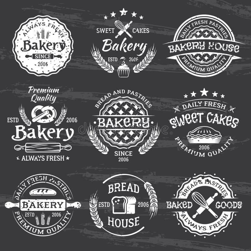 Emblem för vit för bageri- och bakelsetappningvektor stock illustrationer