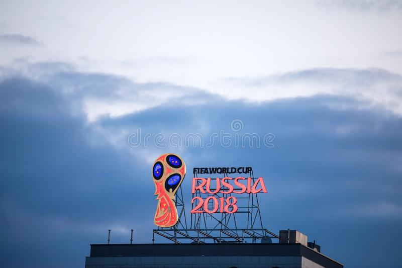 The emblem of the FIFA World Cup in Russia in 2018 year on the top of the building royalty free stock photo