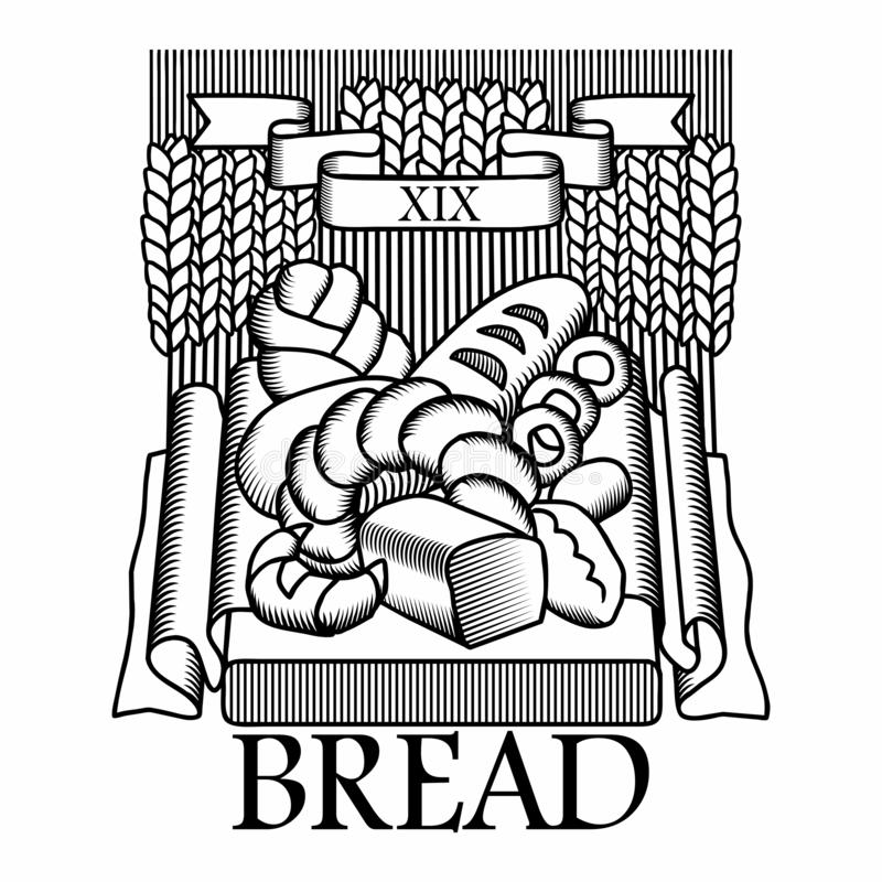 Bread, emblem in the form of a coat of arms stock illustration