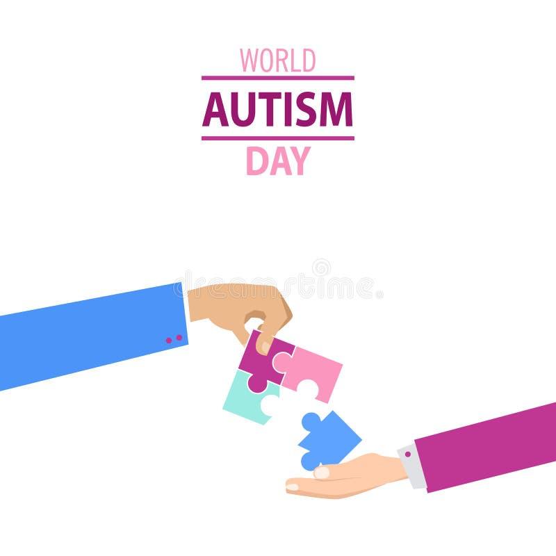 Emblem gemacht von den Puzzlespielstücken und von den Autismusfarben stockbilder