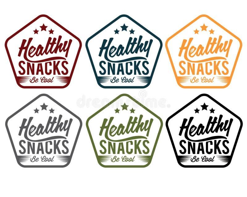 emblem healthy snaks stock illustration