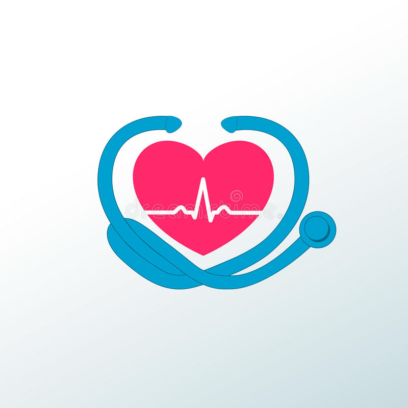 Emblem with heart and stethoscope stock photos