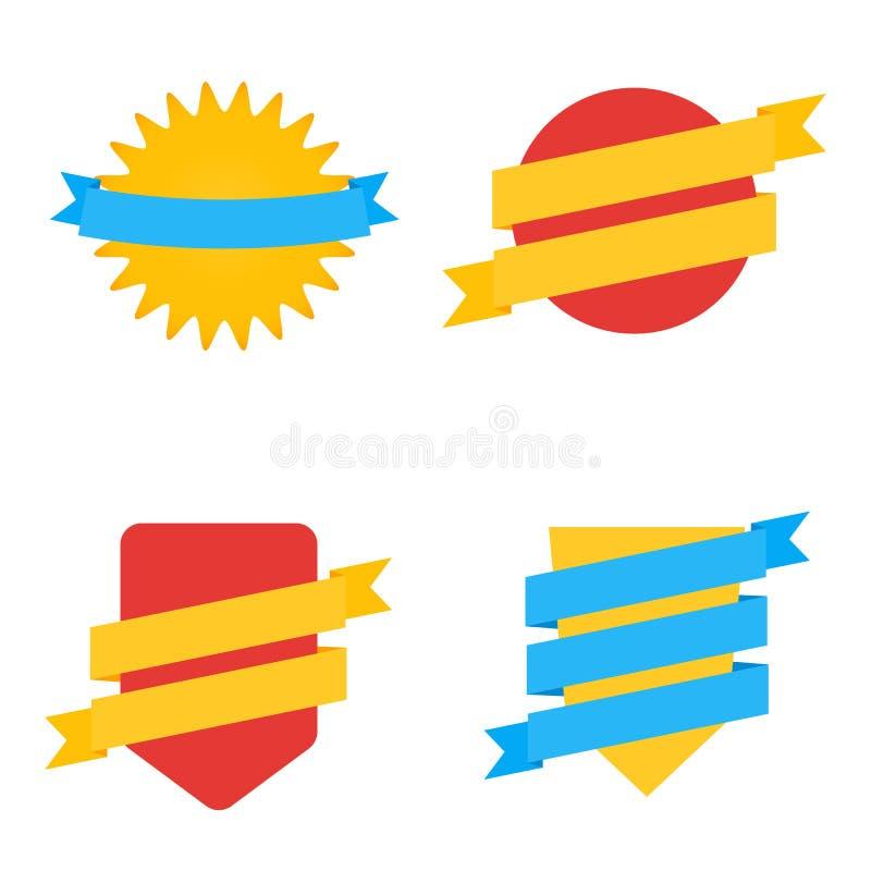 Emblem i plan stil Vektoruppsättning av färgrika etiketter vektor illustrationer