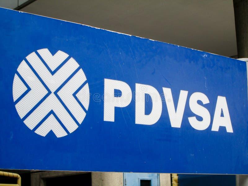 Emblem of the iconic oil company of Venezuela, Petroleos de Venezuela, PDVSA, Caracas, Venezuela.  stock image