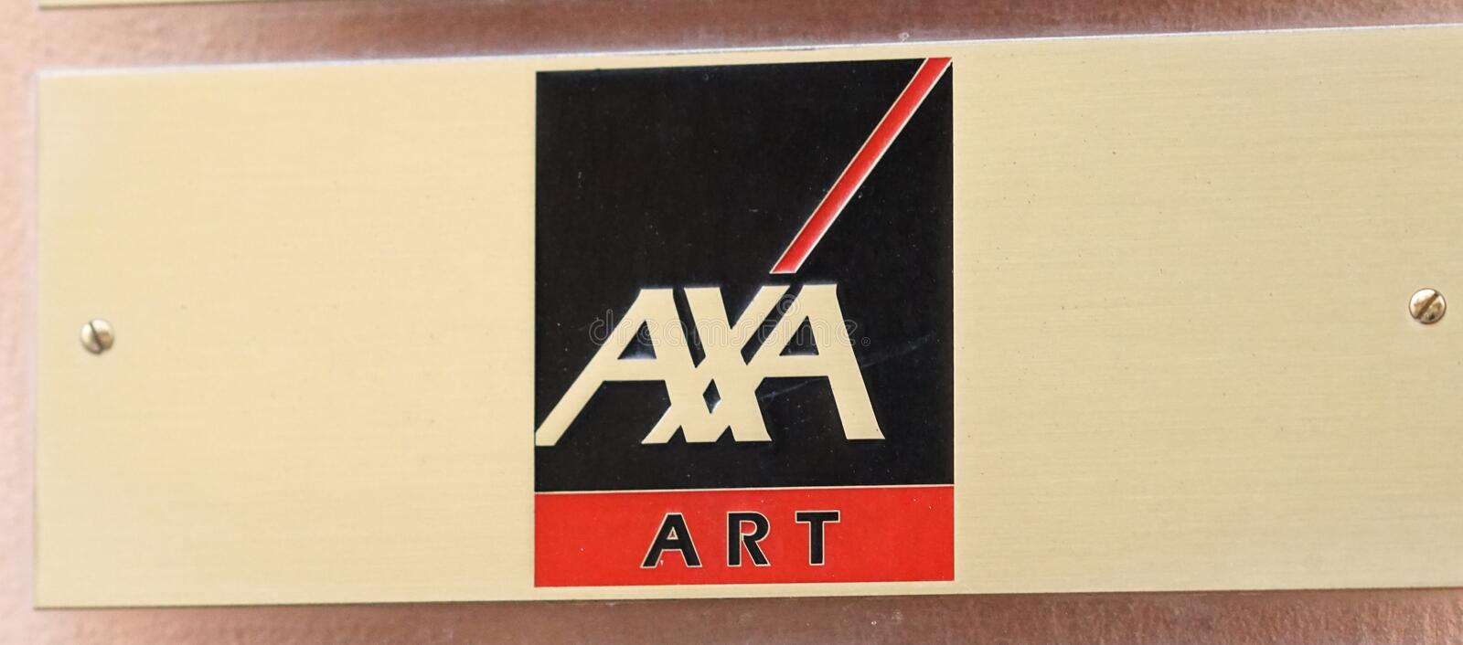 Emblem of the insurance company AXA Art. Verona, Italy - September 5, 2018: AXA Art logo. AXA is a French multinational insurance firm that engages in global royalty free stock images