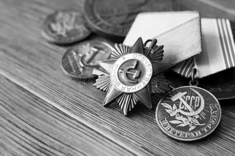 emblem isolerad beställningsussr white Utmärkelse för glans Minnet av segern royaltyfri bild