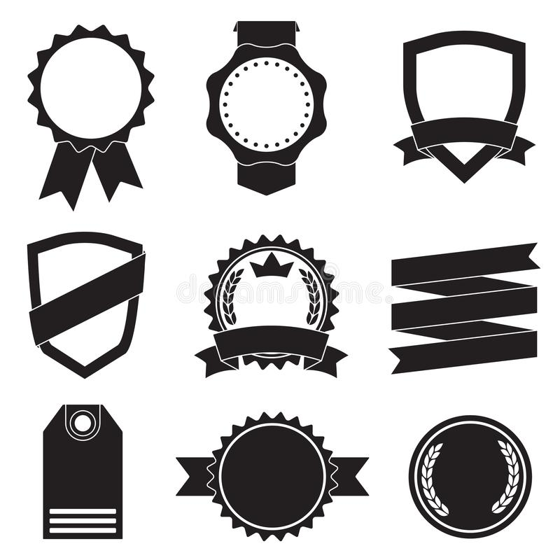 Emblem, klistermärkear, etiketter, sköldar och band ställde in Vektortappningillustration som isoleras på vit bakgrund vektor illustrationer