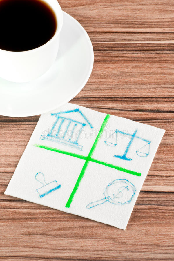 Emblem of the law on a napkin