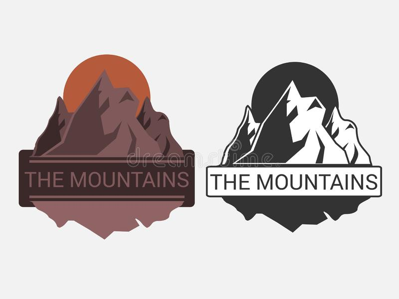 Emblem or logo with a picture of mountains in black and white and color. Vector illustration. Emblem or logo with a picture of mountains in black and white and stock illustration