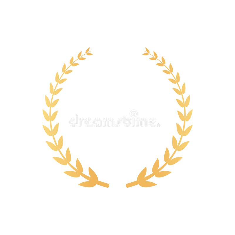 Emblem Made of Laurel Branches, Golden Leaves Icon royalty free illustration